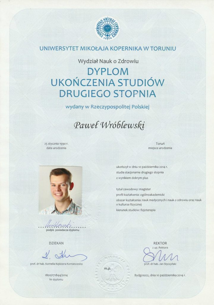 Dyplom magister fizjterapeuta Paweł Wróblewski